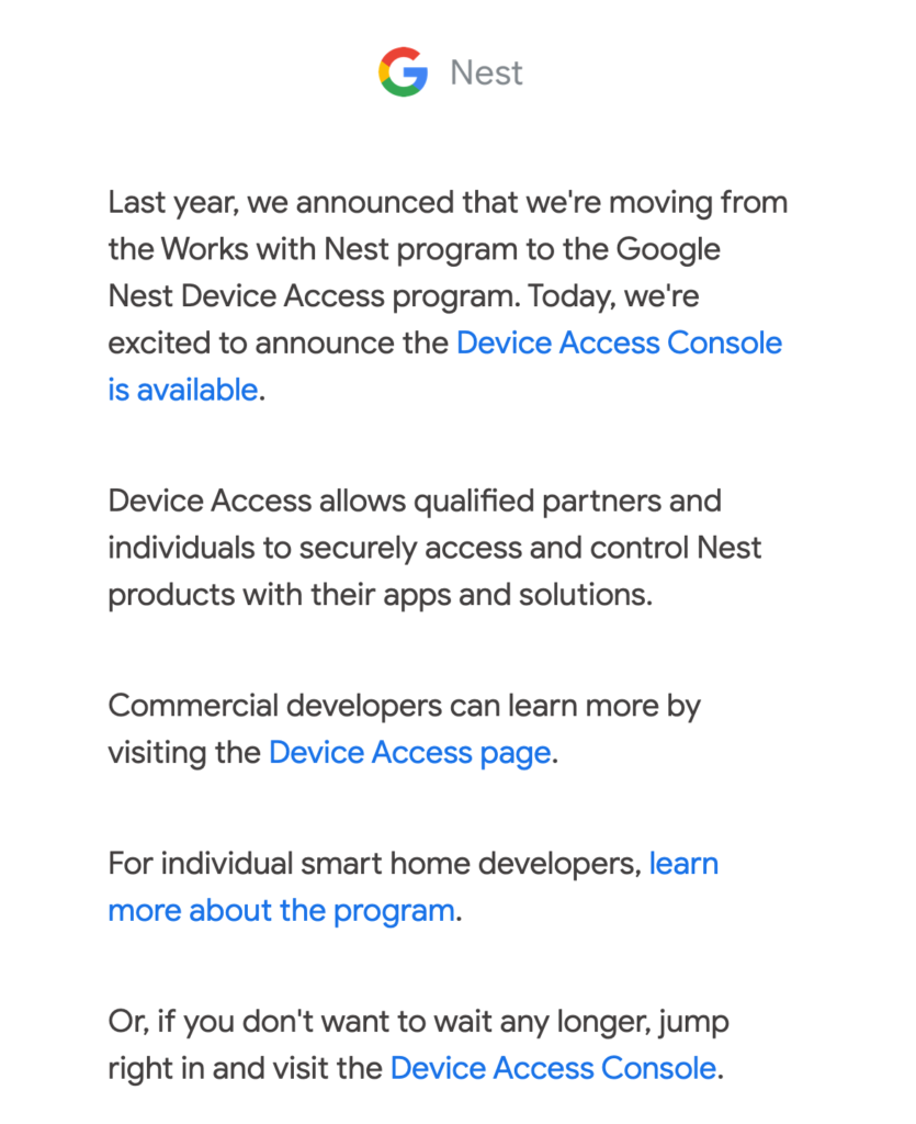 E-mail from Google
